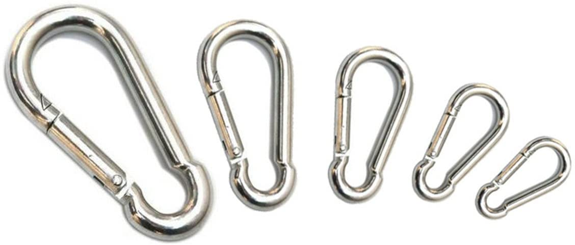 Workouty 10pack Silver Spring Snap Backpack Keychain Hook D-Shape Buckle Clip Carabiner for Camping Fitness Weightlifting Hooks