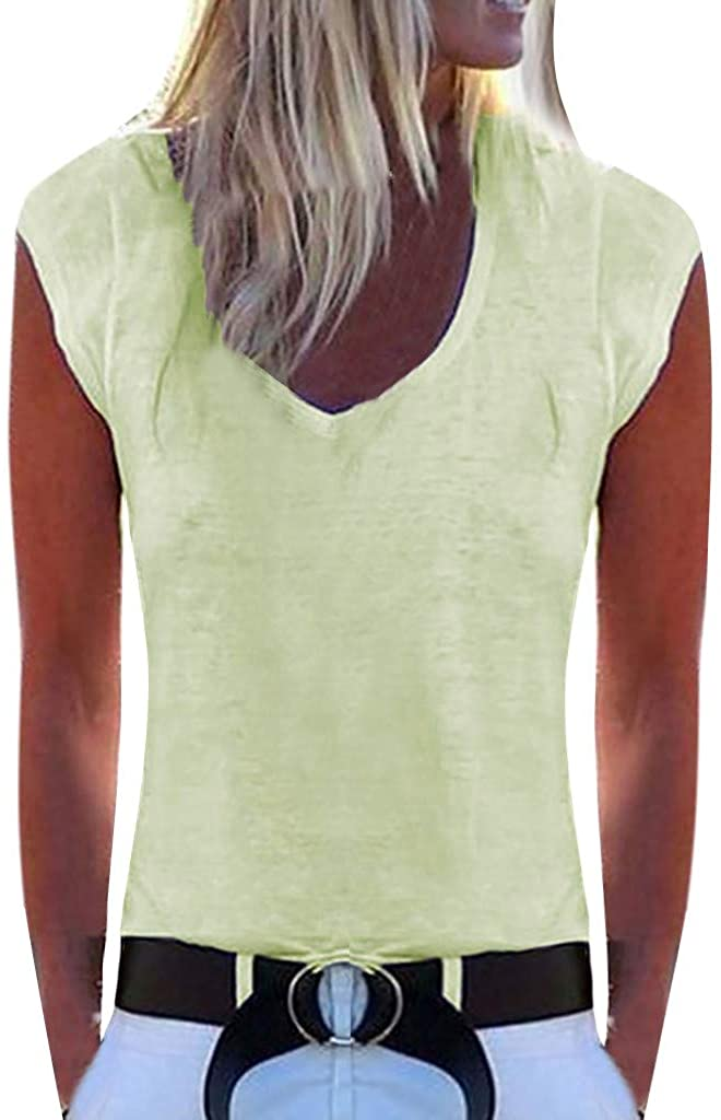 YTBD Solid Summer T-Shirts Camisole Ladies V-Neck Short Sleeve T-Shirts Graphic Blouse
