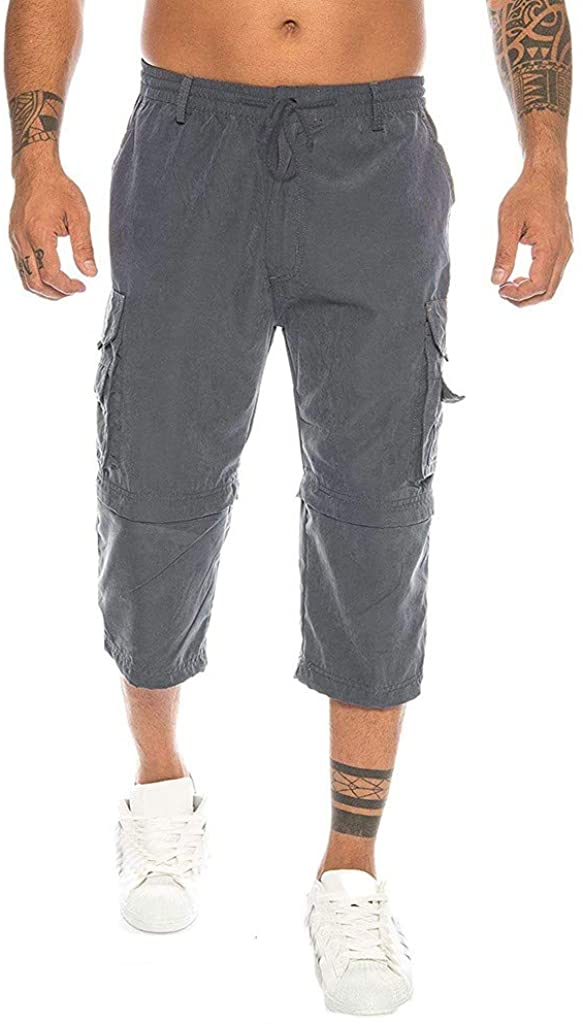 Forthery-Men Home Zipper Pure Color Beach Work Multi-Pocket Trouser Tooling Shorts (Can be Disassembled)
