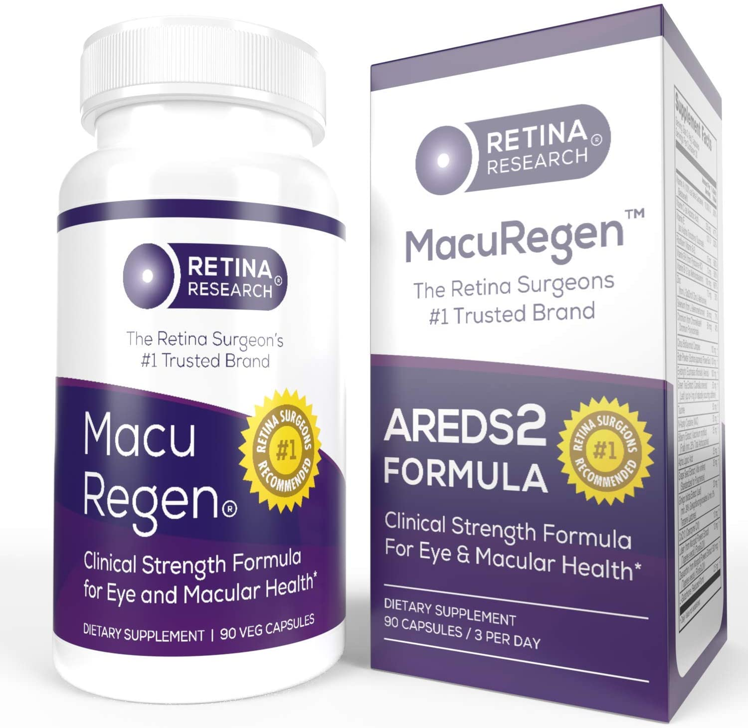 MacuRegen AREDS 2 Eye Vitamins - 23-in-1 Macular Health Formula - Recommended by Retina Surgeons - 100% Natural - Made in USA - 90 Capsules - by Retina Research