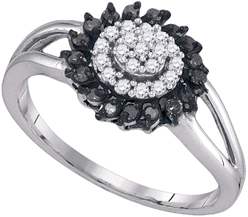 The Diamond Deal 10kt White Gold Womens Round Black Color Enhanced Diamond Cluster Ring 1/4 Cttw