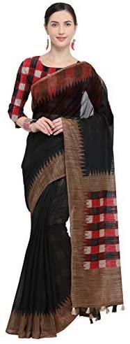Rajnandini Women's Linen Checks Printed Saree(JOPLNB3043C_Black_Free Size)