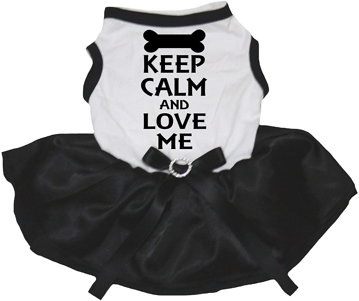 Petitebella Keep Calm Love Me White Shirt Black Tutu Puppy Dog Dress