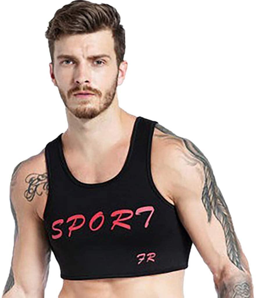 Fine Men's Short Chest Vest Men's Neoprene Brace Vest Chest Support Strap Protective Gear Fitness Sports Injury Prevention and Recover Vest (Black, M)
