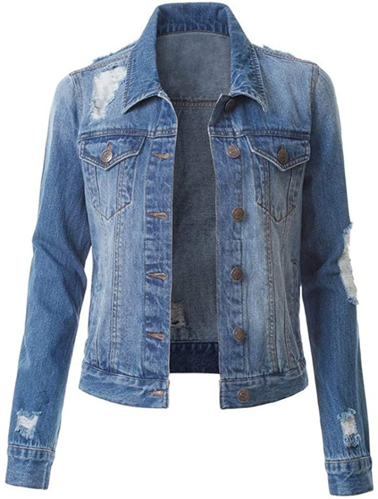 WatFY Women Jackets Casual Denim Tops Fashion Coats Girls Overcoat Long Sleeve Jacket Outerwear