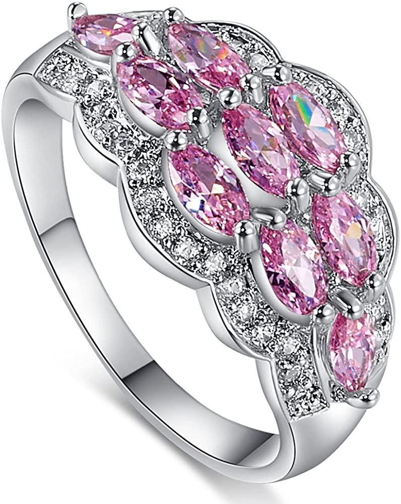 Psiroy 925 Sterling Silver Created Pink Topaz Filled Knuckle Ring Band