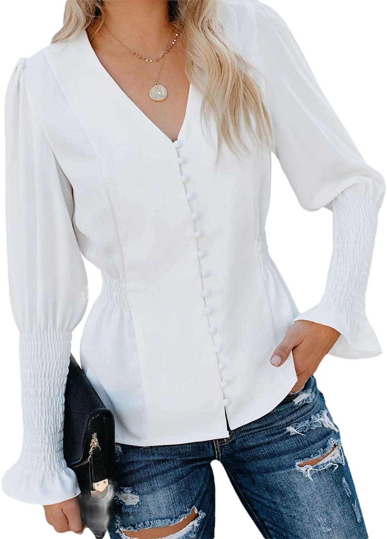 Smeiling Womens Ruffle Hem Long Sleeved Dress Shirt Casual V Neck Top