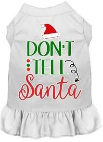 Mirage Pet Product Don't Tell Santa Screen Print Dog Dress White XL