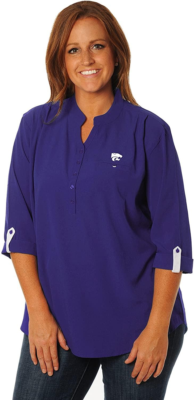 NCAA Womens UG Apparel Kansas State Wildcats Button Down Tunic, 2X, Purple/White