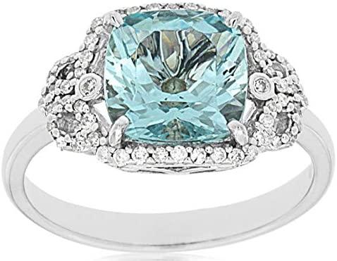 LARGE 2.10CT DIAMOND & AQUAMARINE 14K WHITE GOLD CUSHION & ROUND ENGAGEMENT RING