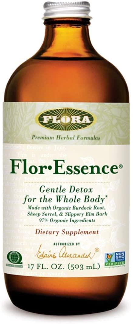 Flor Essence Detox Liquid Tea 17 Oz - Gentle Daily Herbal Cleanse - All Natural 90% Organic Ingredients - by Flora