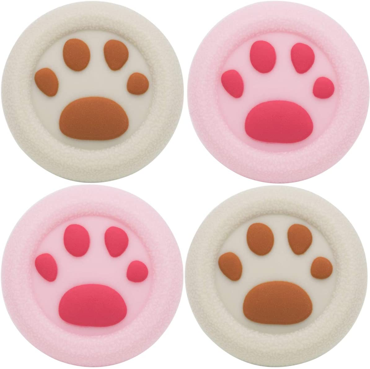 Playrealm Soft Rubber Silicone 3D Texture Thumb Grip Cover x 4 for PS4, Xbox One, Switch PRO Controller (Cat Paw Coral Brown)