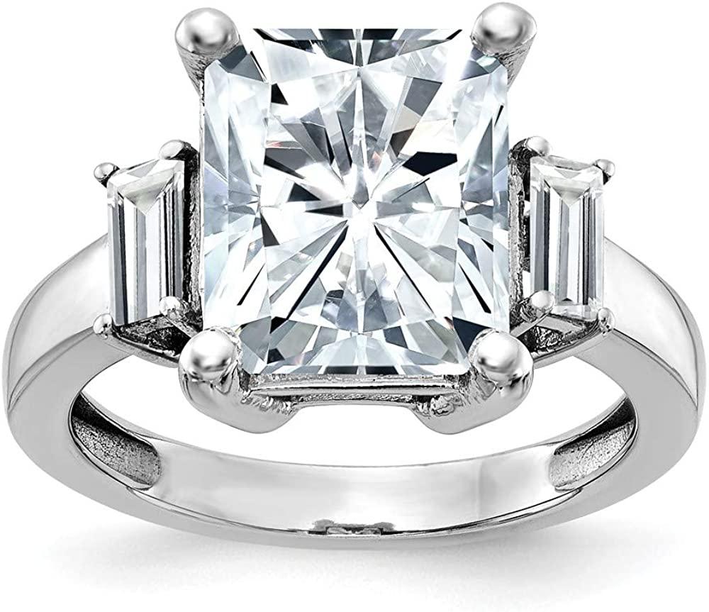 14K White Gold Three Stone Engagement Ring Moissanite (1.29 cttw.)