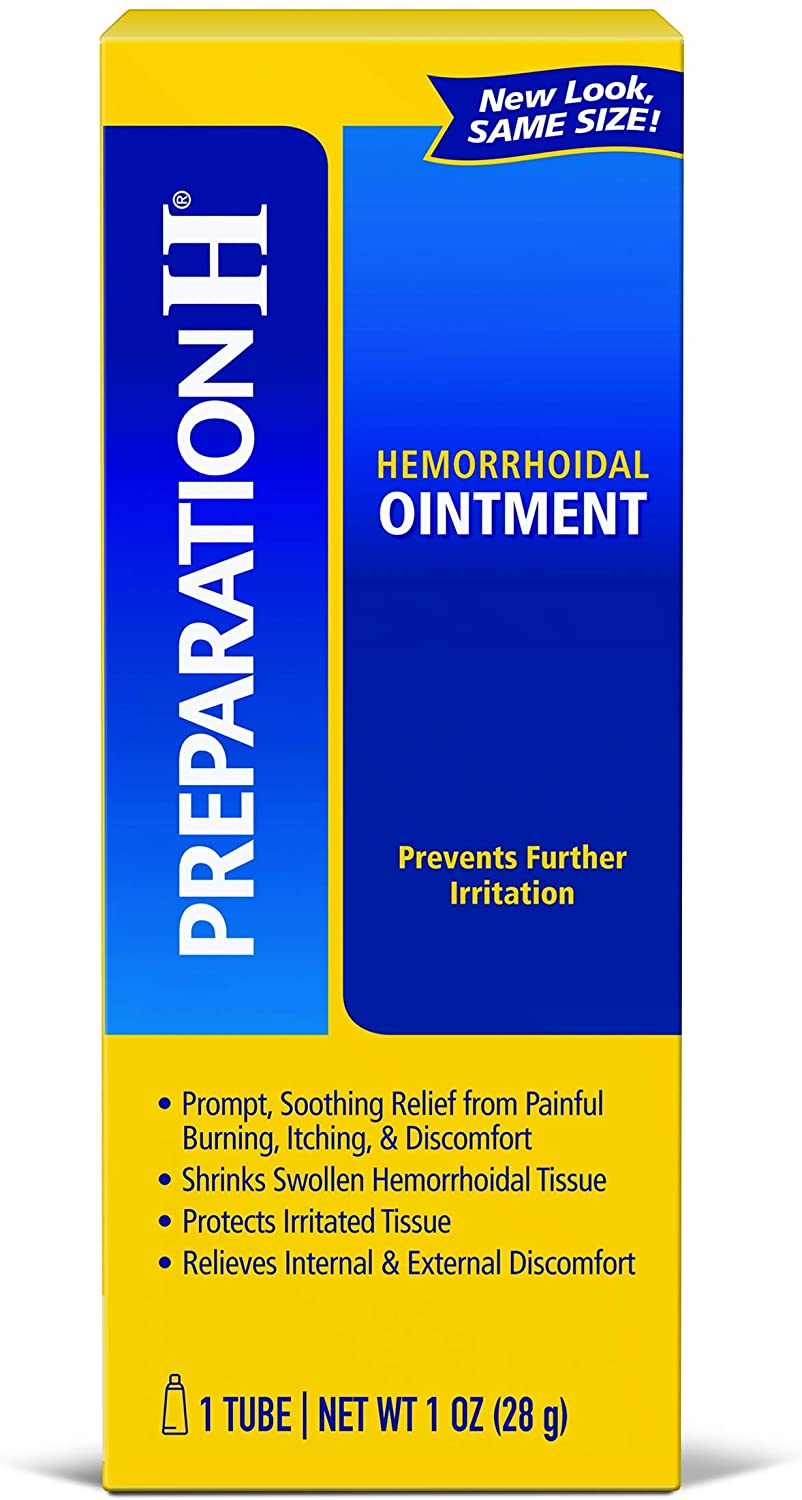 Preparation H (1.0 Ounce, 1 Tube per Box) Hemorrhoid Symptom Treatment Ointment, Itching, Burning & Discomfort Relief, Tube, (Pack of 3)