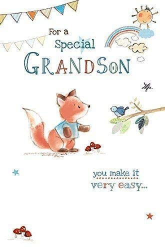 FOR A SPECIAL GRANDSON BIRTHDAY FOX GREETING CARD