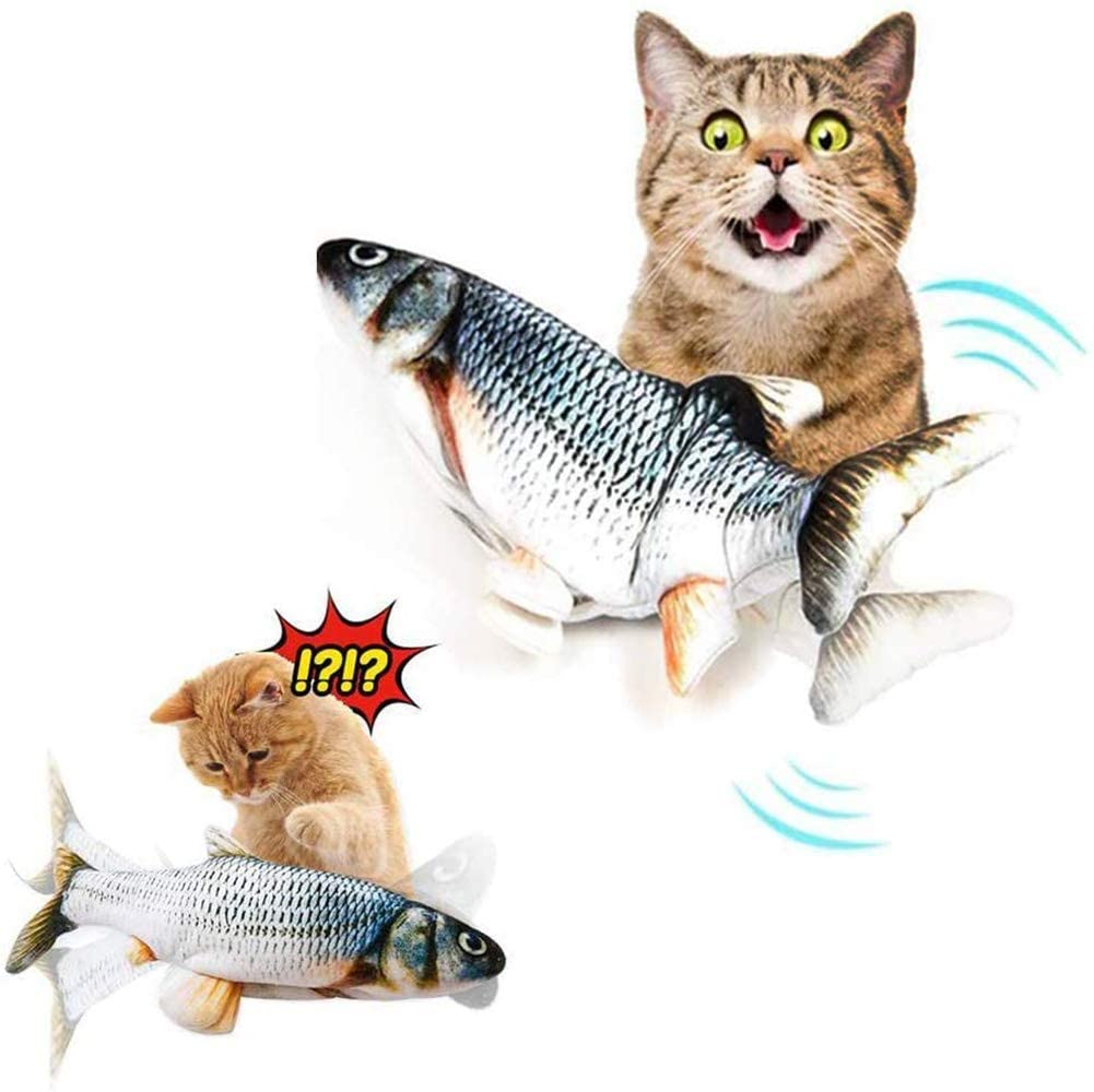 AKL Catnip Fish Cat Toys Realistic Plush Simulation Rechargeable Doll Fish Funny Flopping Dancing Moving Biting Chewing Kicking Interactive for Cat Kitty Kitten