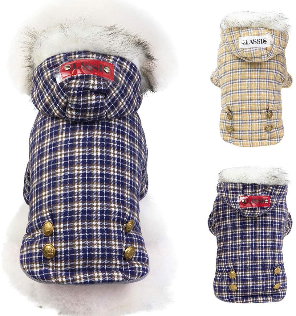 MomentDAY Plaid Pet Coat Autumn and Winter Classic Keep Warm Cat Dog Clothing Thick Down Jacket Cotton Coat Hoodie S-L2