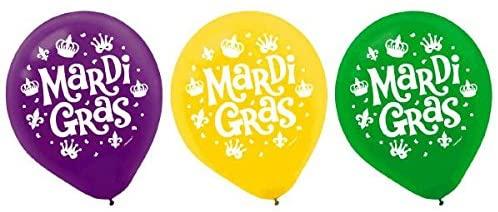 Mardi Gras Party Balloons, 12, 15 Ct.