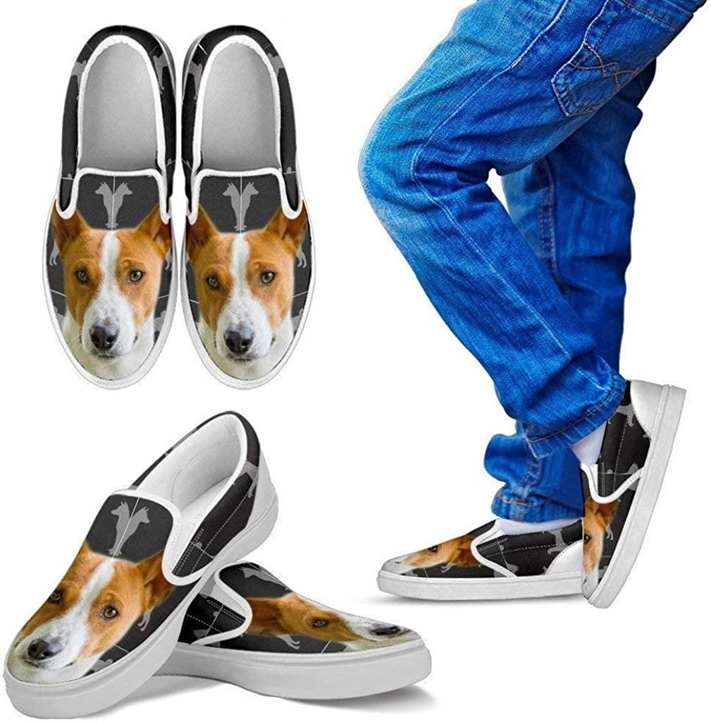 Pet Animal Designs Basenji Print Slip Ons for Kids