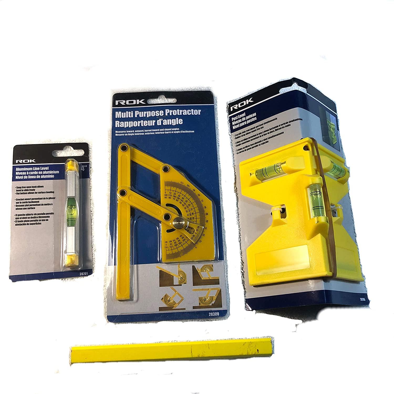 Post Level | Multi Purpose Protractor | Aluminum Line Level | Post Fencing Kit | Bundle