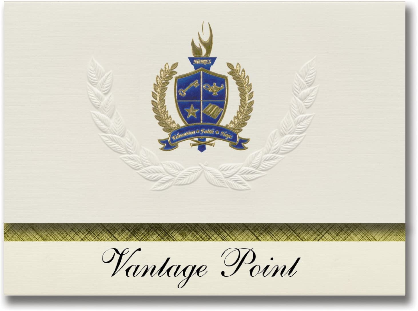 Signature Announcements Vantage Point (Northglenn, CO) Graduation Announcements, Presidential style, Elite package of 25 with Gold & Blue Metallic Foil seal
