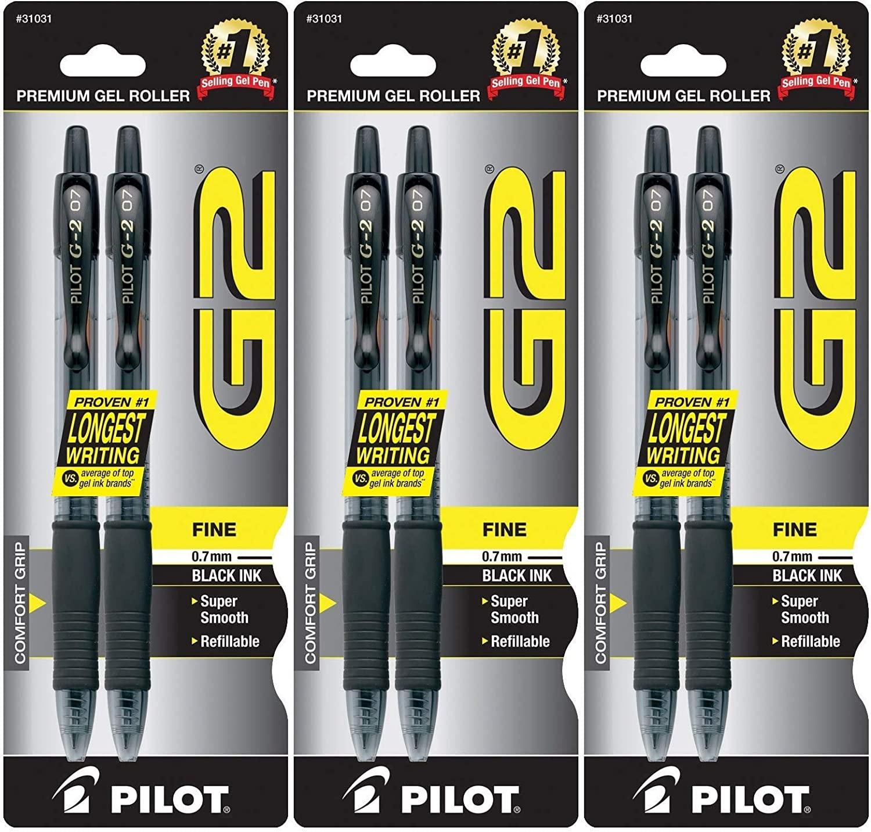 Pilot G2 Retractable Rolling Ball Gel Pens, 3 Pack of 2