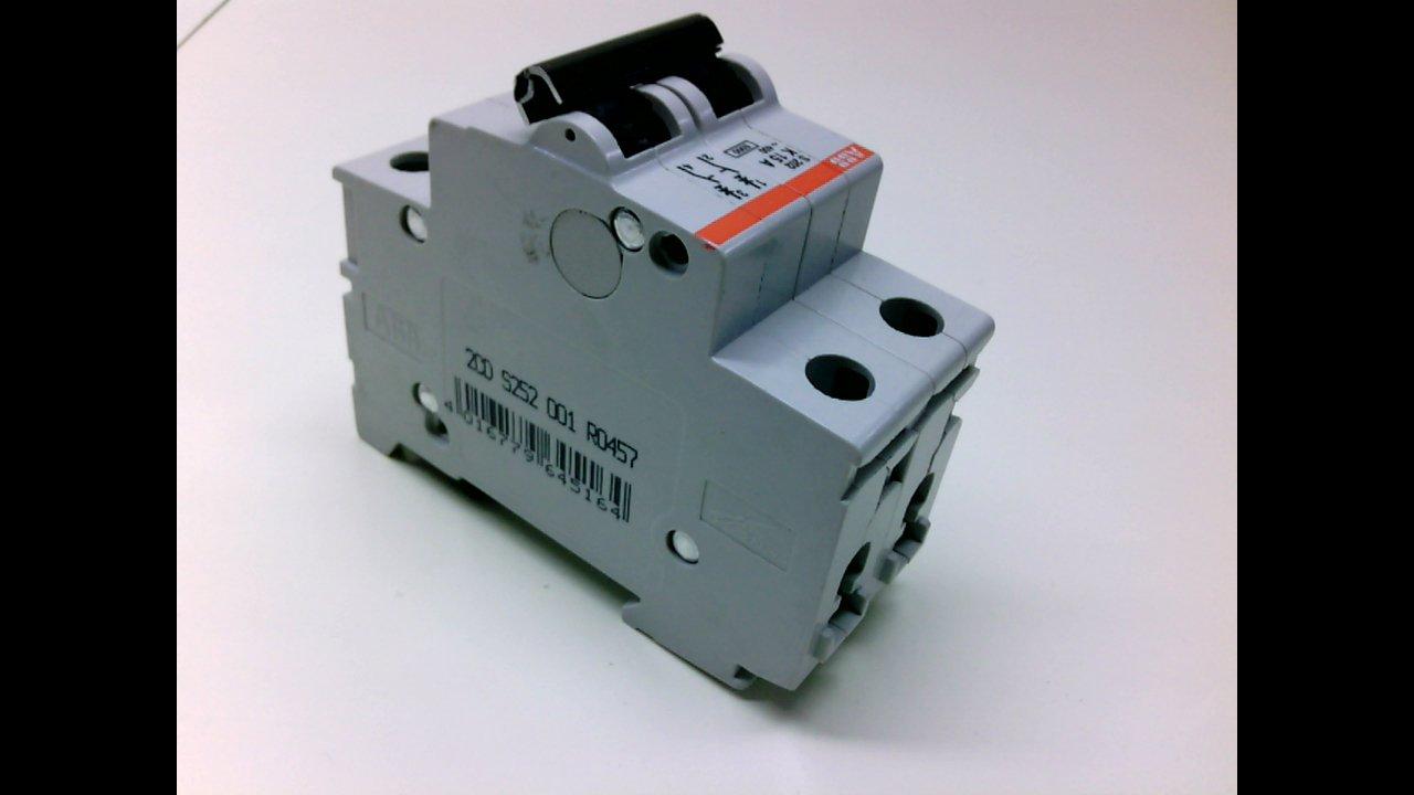 ABB S202-K15 Circuit Breaker; Supplementary; K Curve; 2-Pole; 15A; 480Y/277 VAC; UL1077; DIN