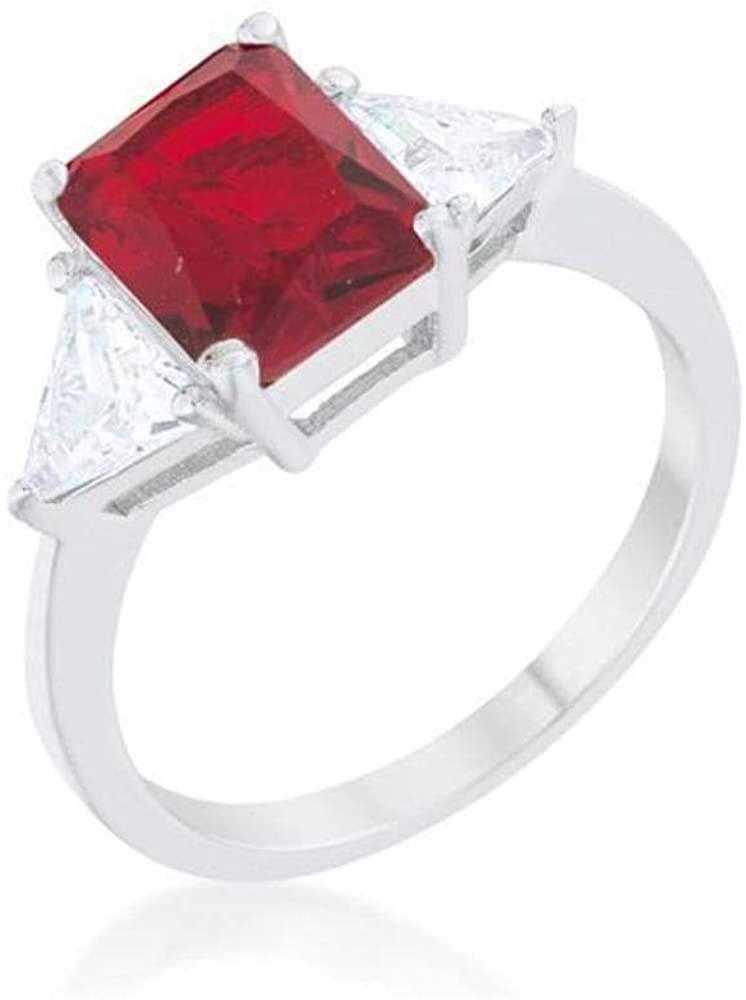 Upsten Classic Ruby Rhodium Engagement Ring, 8