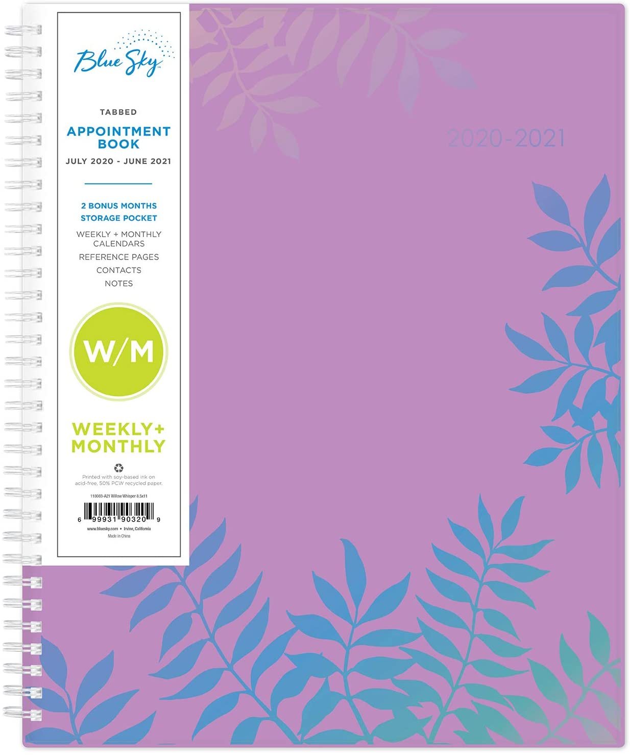 Blue Sky 2020-2021 Academic Year Weekly & Monthly Planner, Flexible Cover, Twin-Wire Binding, 8.5