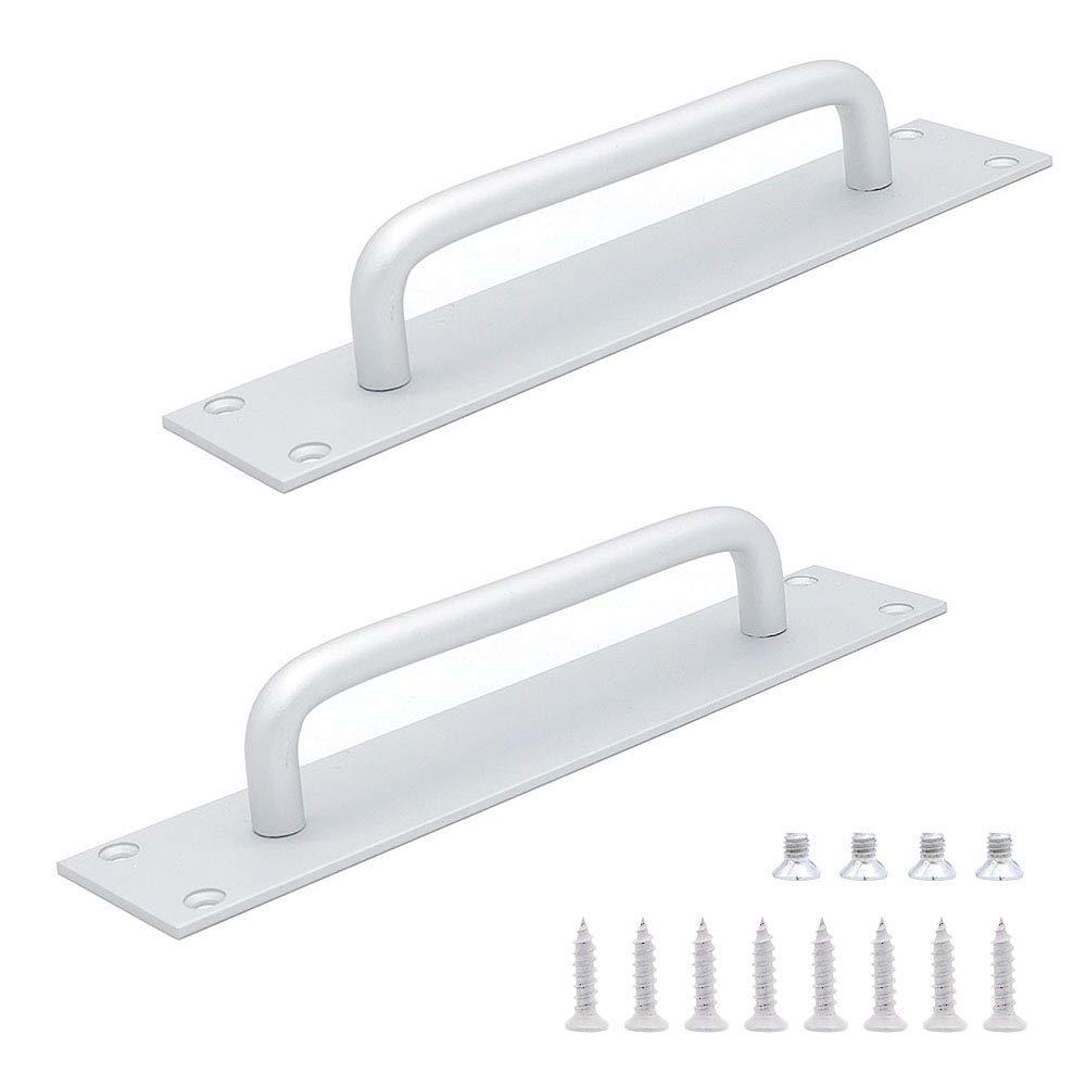 Set of 2 NUZAMAS Aluminum Alloy Sliding Door Handles, Fire Door Handles, Cabinet Door Round Handles, Pull Push Open, 20cm X 4cm (7.8 inch X 1.5 inch), Silver Color