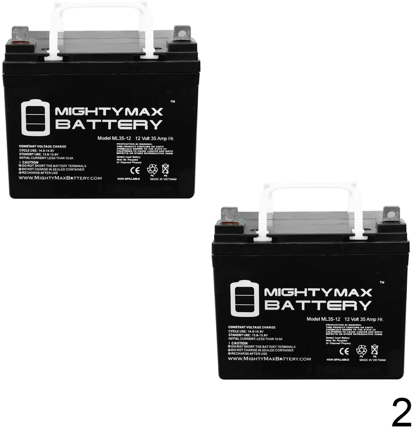 Mighty Max Battery 12V 35AH Wheelchair Battery Replaces 33ah Zeus PC33-12 - 2 Pack Brand Product
