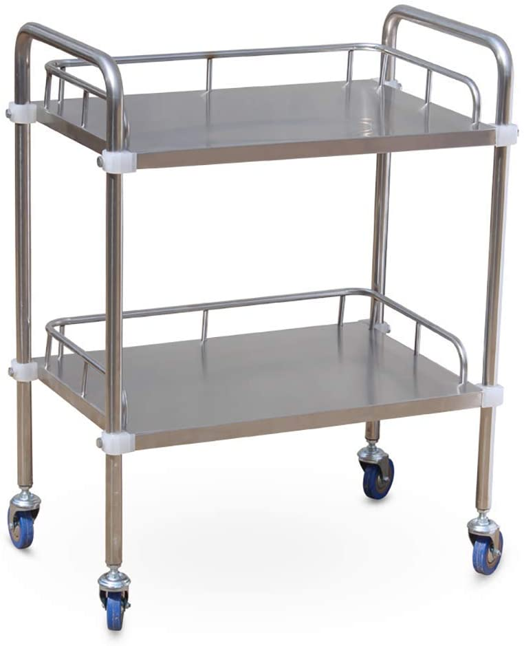 HTL Serving Cart, Storage Rack,-Medical Cart Tool 2 Tier Mobile Medical Cart with Universal Wheels, Stainless Steel Beauty Salon Rolling Trolley Cart for Hotel/Hospital, Load 150Kg,Xs-453586Cm