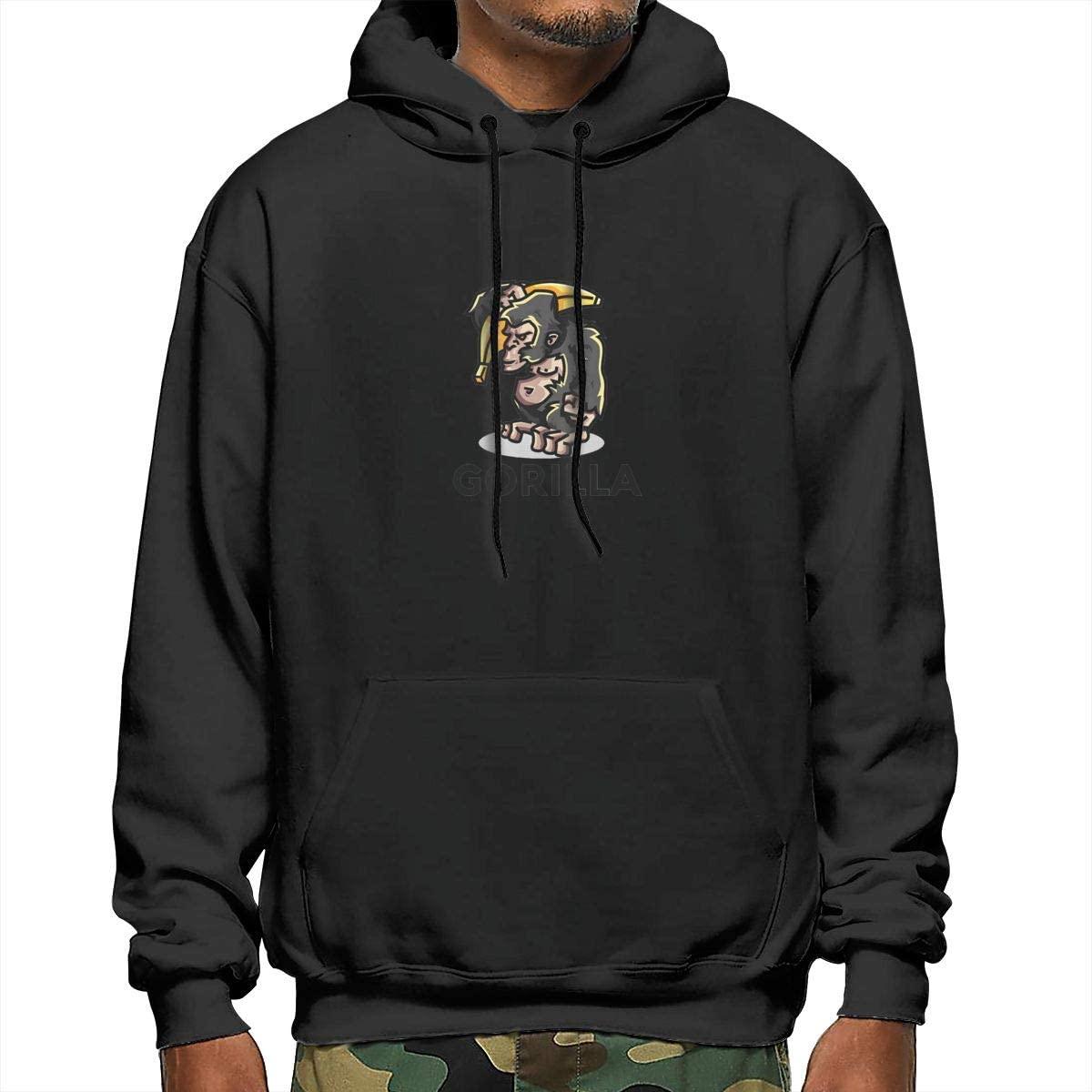Mens Hooded Sweatshirt Gorilla Print Hooded Top Hoodie Black/White/Navy/Gray
