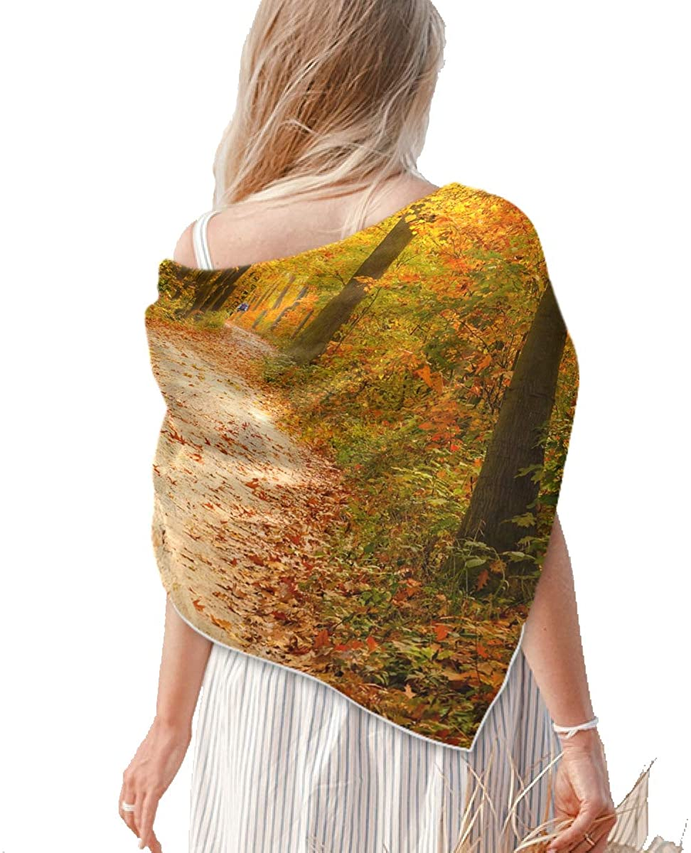 Square Silk Feeling Neckerchief - Women's Large Forest Road Square Scarf Shawl - Lightweight Silky Scarf for Headscarf&Neck