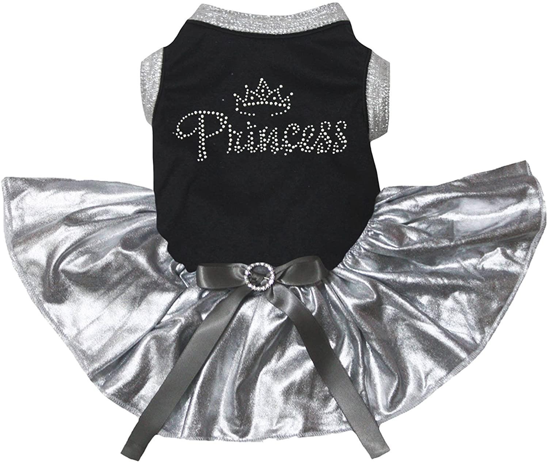 Petitebella Rhinestone Princess Black Shirt Bling Silver Tutu Puppy Dog Dress