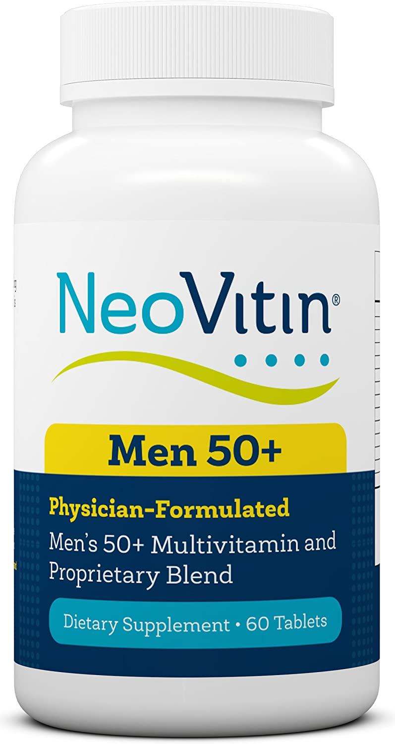NeoVitin Mens 50+ Multivitamin/Multimineral with Vitamin B, Vitamin D, Calcium, Vitamin D, L-Carnitine, Asian Ginseng Root Powder, Green Tea Leaf Extract, Turmeric Root Extract