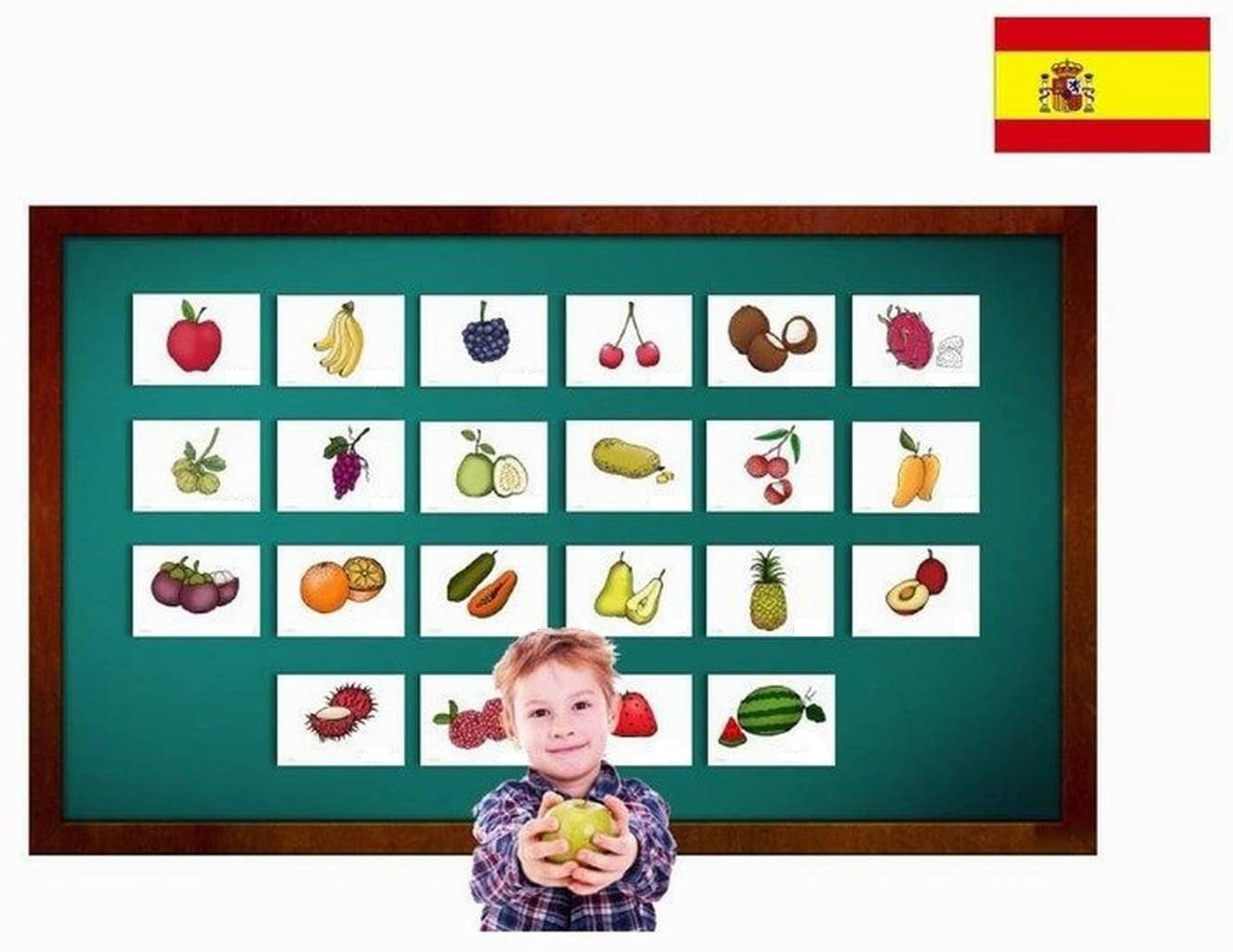 Fruit Flashcards in Spanish Language - Flash Cards with Matching Bingo Game for Toddlers, Kids, Children and Adults - Size 5.83 × 8.27 in - DIN A5