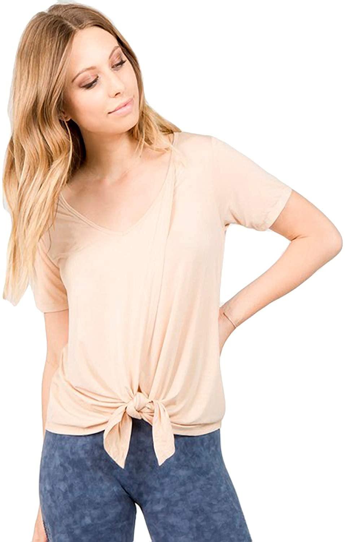 Womens Short Sleeve Split Front Top