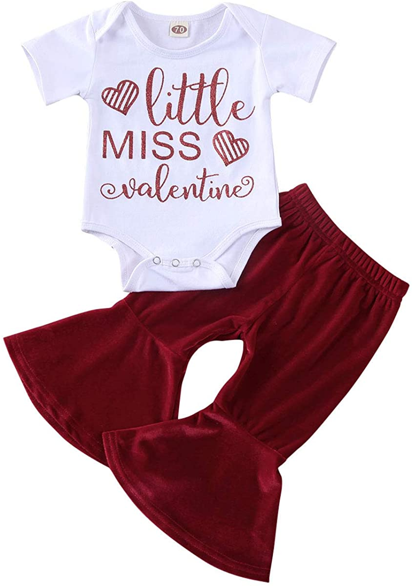 Infant Baby Toddler Girls Valentine's Day Outfit Short Sleeve Romper Top Pants Skirt Spring Clothes Set 3M-2T