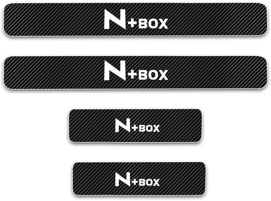 For Honda Nbox Door Sill Protector Reflective 4D Carbon Fiber Sticker Door Entry Guard Door Sill Scuff Plate Stickers Auto Accessories 4Pcs White
