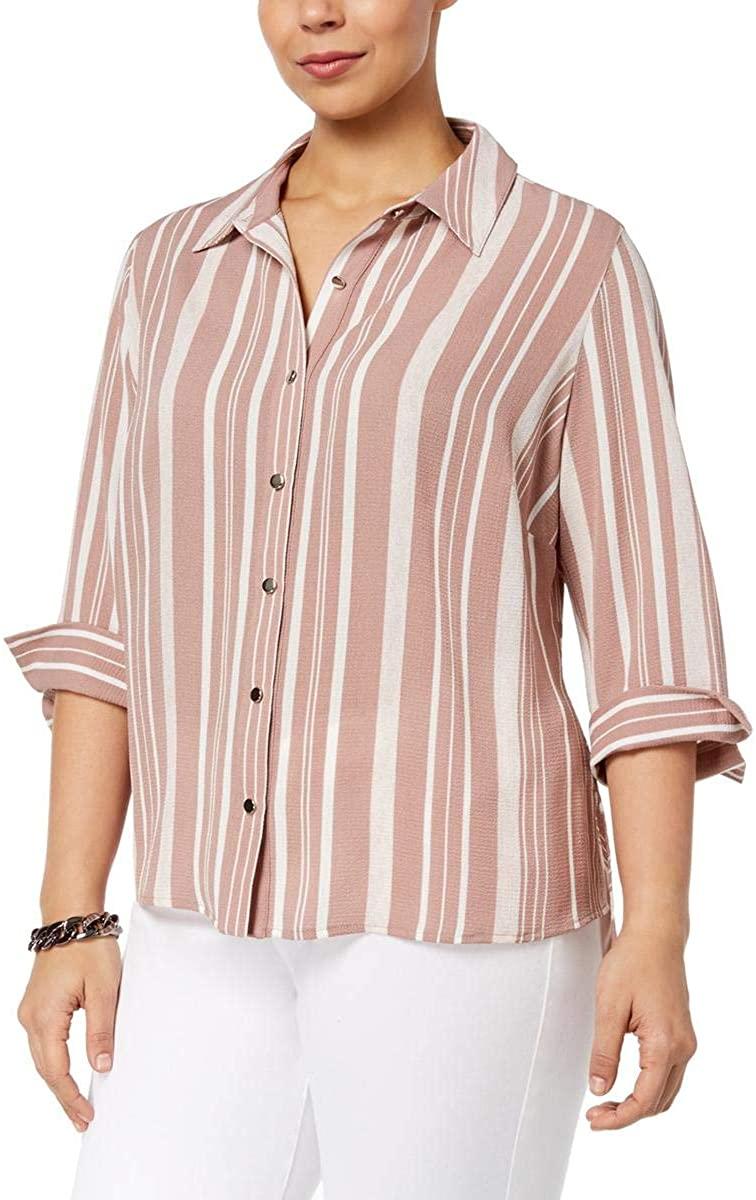 NY Collection Petite Plus Size Multi-Stripe Shirt (Pink Tough 2XP)