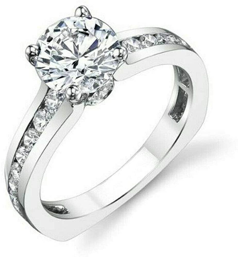RINGJEWEL Near White Round Cut Moissanite Engagement Ring Size 7
