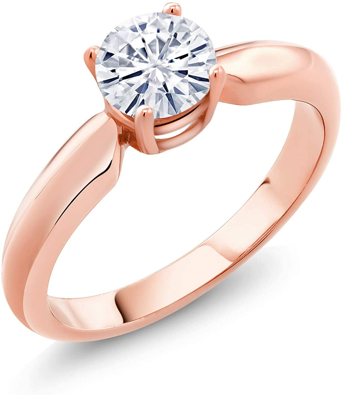 18K Rose Gold Plated Silver Solitaire Ring Set Round Forever Brilliant Near Colorless (GHI) 0.50 ct (DEW) Created Moissanite from Charles & Colvard