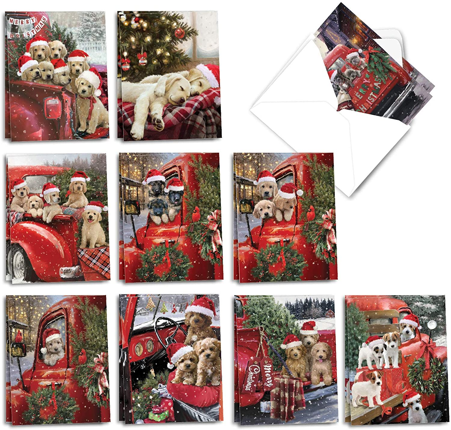 The Best Card Company Red Truck Puppies - 20 Assorted Boxed Merry Christmas Note Cards with Envelopes (4 x 5.12 Inch) - Holiday Pickups Pups AM3375XSG-B2x10
