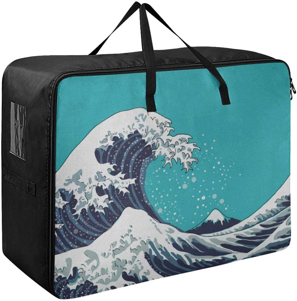 Garment Storage Bags Japan Giant Wave Art Motif Luggage Clothes Organizer 70 X 50 X 28 cm Quilt Bedspread Pillow Luggage Moving Tote Garment Closet Storage Organizer