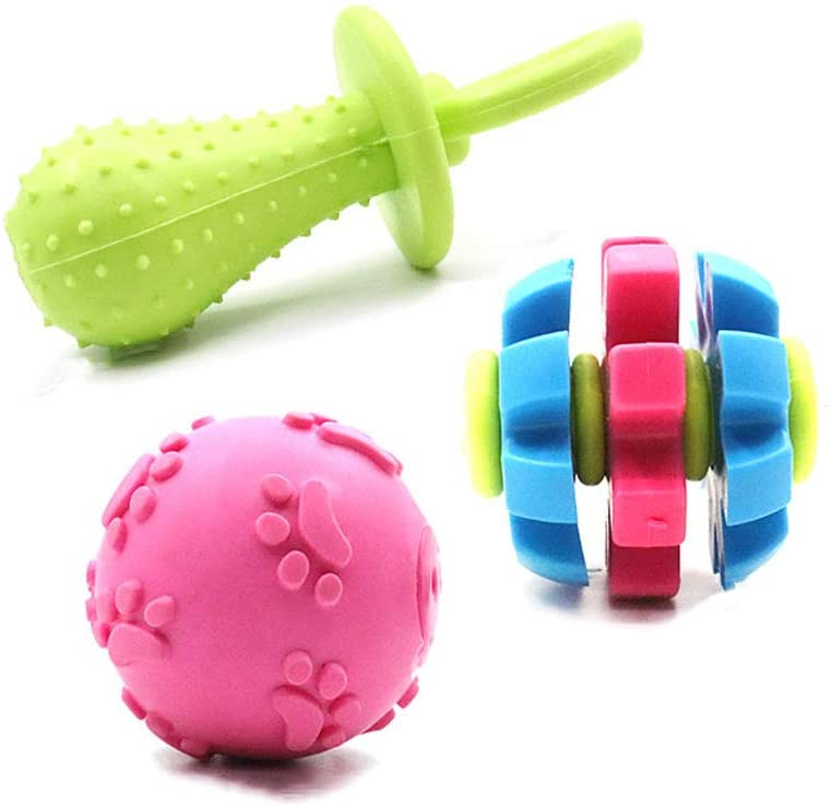 Dog Toy Ball bite-Resistant Ball Dog Molar Toy Small Large Dog Toy Supplies - Pacifier Toy + Ball + Rotating Tooth Toy