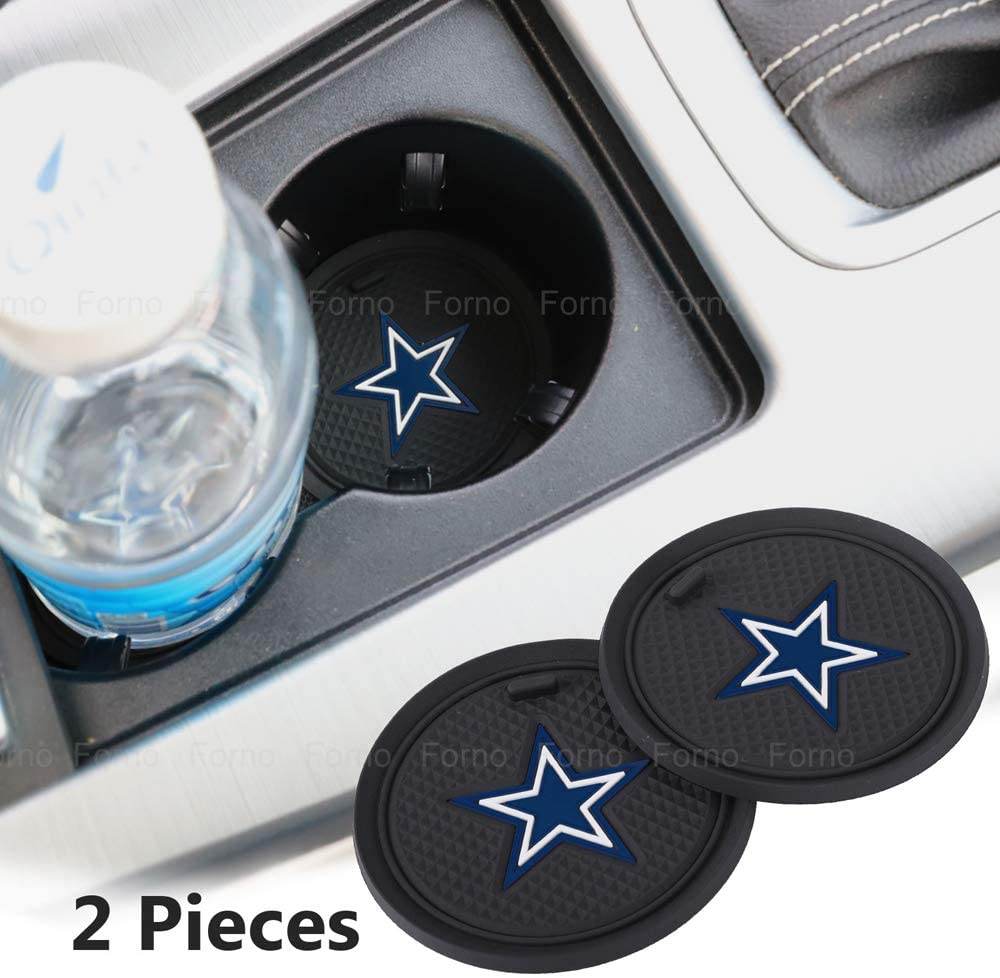 2 Pack 2.75 inch for Oakland Raiders Car Interior Accessories Anti Slip Cup Mat for All Vehicles (Dallas Cowboys)