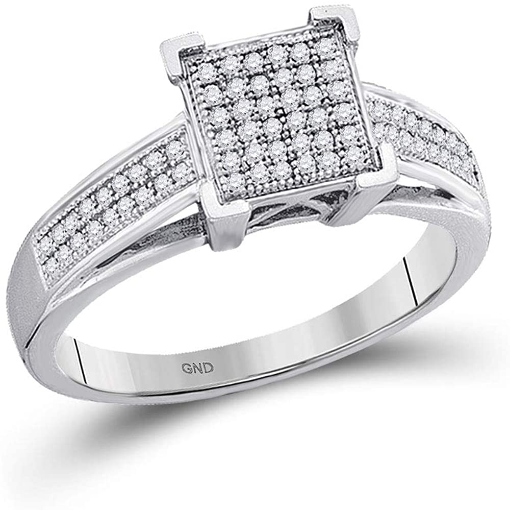 Dazzlingrock Collection 10kt White Gold Womens Round Diamond Square Cluster Ring 1/5 ctw