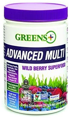 Greens+ Advanced Multi Wild Berry Superfood | Essential Blend of Raw Green Foods, Superfruits and Sea Vegetables Powder | Vegan | Dietary Supplement | Non - GMO, Soy Dairy & Gluten-Free | Size 9.4oz
