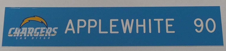 Antwan Applewhite Game Used 2008-2010 Chargers Football Locker Name Plate #90 2 - NFL Game Used Footballs